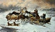 Wintry Painting Prints - The Chase Print by Constantine Stoiloff