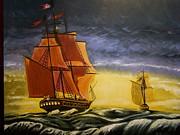 Pirate Ships Painting Originals - The Chase by Robert E Gebler