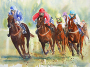 Horse Racing Paintings - The Chase by Ruth Harris