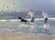 Seagulls Paintings - The Chase by William Ireland