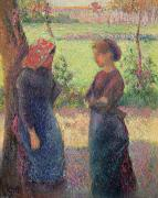 Peasants Framed Prints - The Chat Framed Print by Camille Pissarro