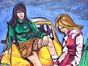 Sixties Painting Originals - The Chat by Sarah Crumpler