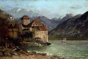 Mountainous Painting Posters - The Chateau de Chillon Poster by Gustave Courbet