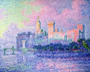 Palace Bridge Framed Prints - The Chateau des Papes Framed Print by Paul Signac