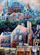 Snowfall Paintings - The Chateau Frontenac by Carole Spandau