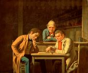 Players Posters - The Checker Players Poster by George Caleb Bingham