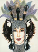 Actress Mixed Media Framed Prints - The Cher-est Painting Framed Print by Joseph Lawrence Vasile