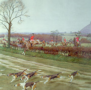 Red Coats Framed Prints - The Cheshire away from Tattenhall Framed Print by Cecil Charles Windsor Aldin
