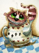 Teapot Paintings - The Cheshire Cat - In a teapot by Lucia Stewart