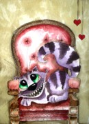 Alice In Wonderland Painting Metal Prints - The Cheshire Cat - Lovely sofa Metal Print by Lucia Stewart