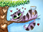 Alice In Wonderland Painting Metal Prints - The Cheshire Cat - Tea Anyone Metal Print by Lucia Stewart