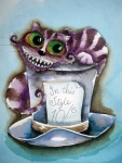 Alice In Wonderland Painting Metal Prints - The Chesire Cat Metal Print by Lucia Stewart