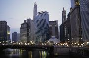 Hotels And Resorts Posters - The Chicago River And Buildings Poster by Paul Damien