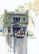Chicago Landmark Paintings - The Chicago Watertower Fire House by Rick Clubb