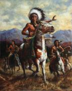 Native American Painting Metal Prints - The Chief Metal Print by Harvie Brown