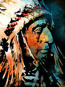 Native Americans Painting Framed Prints - The Chief Framed Print by Paul Sachtleben