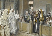 Priests Paintings - The Chief Priests Ask Jesus by What Right Does He Act in This Way by James Jacques Joseph Tissot