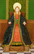 Green Walls Posters - The Child Enthroned Poster by Thomas Cooper Gotch