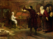 Interior Paintings - The Child Handel Discovered by his Parents by Margaret Isabel Dicksee