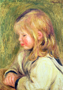 Long Blonde Hair Framed Prints - The Child in a White Shirt Reading Framed Print by Pierre Auguste Renoir