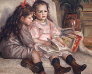 Red Bow Framed Prints - The Children of Martial Caillebotte Framed Print by Pierre Auguste Renoir