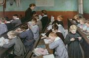 Desk Painting Prints - The Childrens Class Print by Henri Jules Jean Geoffroy