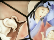Stained Glass Windows Photos - The Chinese Jesus by Christine Till