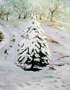 Snowy Trees Paintings - The Chirstmas Tree by Jill Iversen