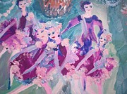Ballet Dancers Paintings - The chocolate chandelier Ballet company by Judith Desrosiers