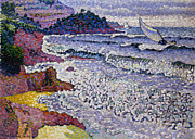 Sea View Framed Prints - The Choppy Sea Framed Print by Henri-Edmond Cross