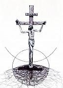 Religious Drawings - The Christ Ink Drawing by Kd Neeley