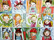 Dresses Drawings Posters - The Christmas Cousins Poster by Mindy Newman