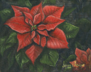 Red Leaf Paintings - The Christmas Flower by Jeff Brimley