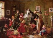 Interior Scene Painting Prints - The Christmas Hamper Print by Robert Braithwaite Martineau