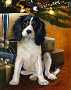 Christmas Eve Paintings - The Christmas Puppy by Cheryl Allen