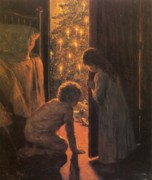 Card Paintings - The Christmas Tree by Henry Mosler