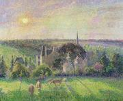 Pissarro Painting Posters - The Church and Farm of Eragny Poster by Camille Pissarro