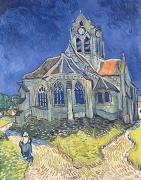 D Posters - The Church at Auvers sur Oise Poster by Vincent Van Gogh