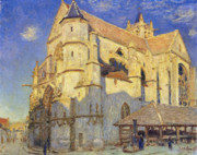 Morning Light Painting Prints - The Church at Moret Print by Alfred Sisley