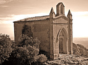 Monochrome Acrylic Prints - The Church at the Top of the Mountain by Roberto Alamino