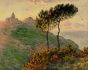 Landscape At Sunset Framed Prints - The Church at Varengeville against the Sunlight Framed Print by Claude Monet