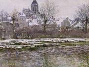 Winter Scenes Rural Scenes Painting Prints - The Church at Vetheuil under Snow Print by Claude Monet