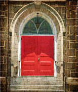 Evangelical Prints - The Church Door in Red Print by Paul Ward