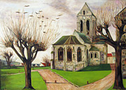 Auvers Sur Oise Prints - The Church in Auvers Sur Oise Print by Larry Burke