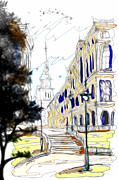 Town Center Prints - The Church in the Middle of Town Print by Cheryl Young