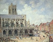 Pisarro Paintings - The Church of Saint Jacques in Dieppe by Camille Pissarro