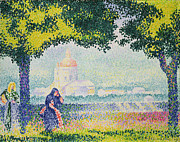 Italian Landscape Paintings - The Church of Santa Maria degli Angeli by Henri-Edmond Cross