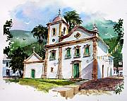 Churches Painting Originals - The Church of Santa Rita in Parati Brazil by Tony Van Hasselt