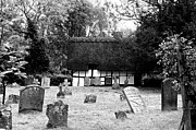 Black And White Landscape Photograph Posters - The Churchyard Poster by Louise Heusinkveld