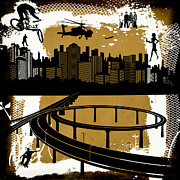 Helicopter Digital Art Prints - The City 2 Print by Angelina Vick